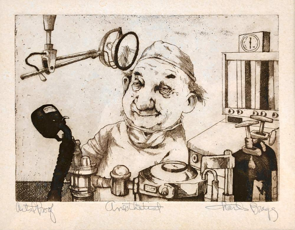 """CHARLES BRAGG """"ANESTHETIST"""" SIGNED ETCHING"""
