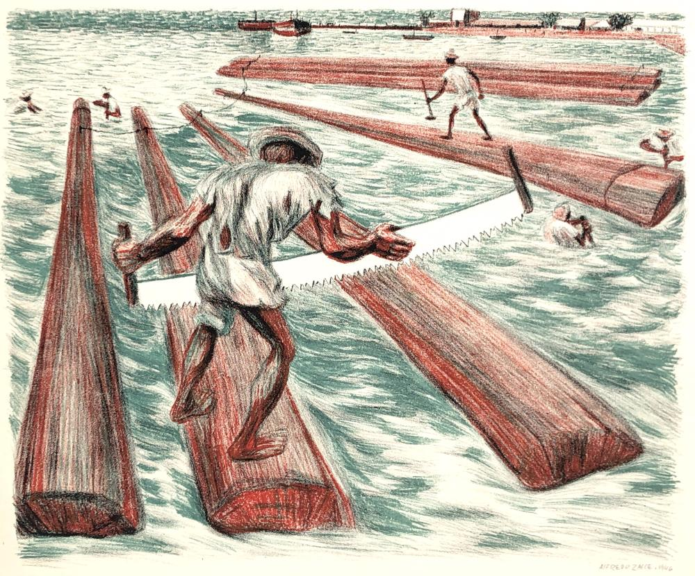 """ALFREDO ZALCE """"LUMBER WORKERS"""" COLOR LITHOGRAPH"""