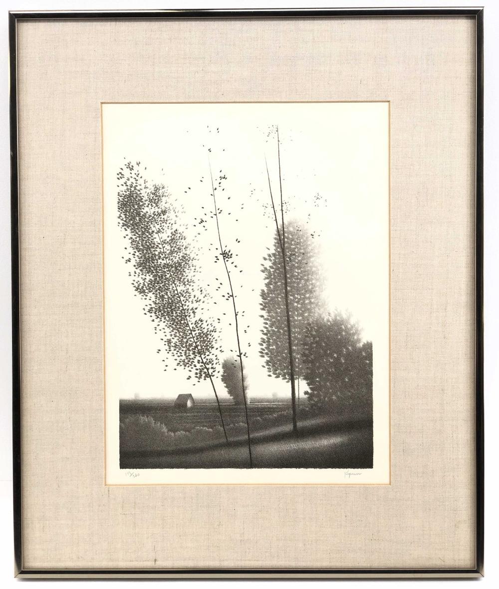 "ROBERT KIPNISS ""TREES ON A HILL"" SIGNED LITHOGRAPH"