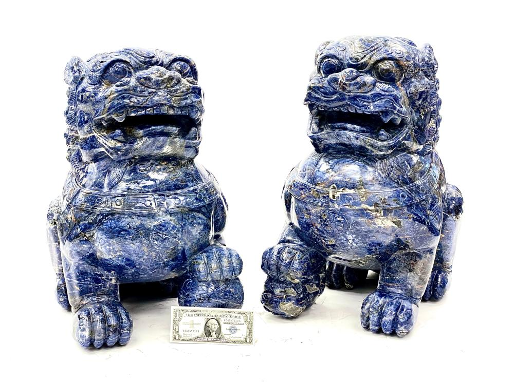 LARGE PAIR OF MONUMENTAL QING DYNASTY CHINESE HAND CARVED LAPIS FOO DOG SCULPTURES INCLUDES APPRAISAL