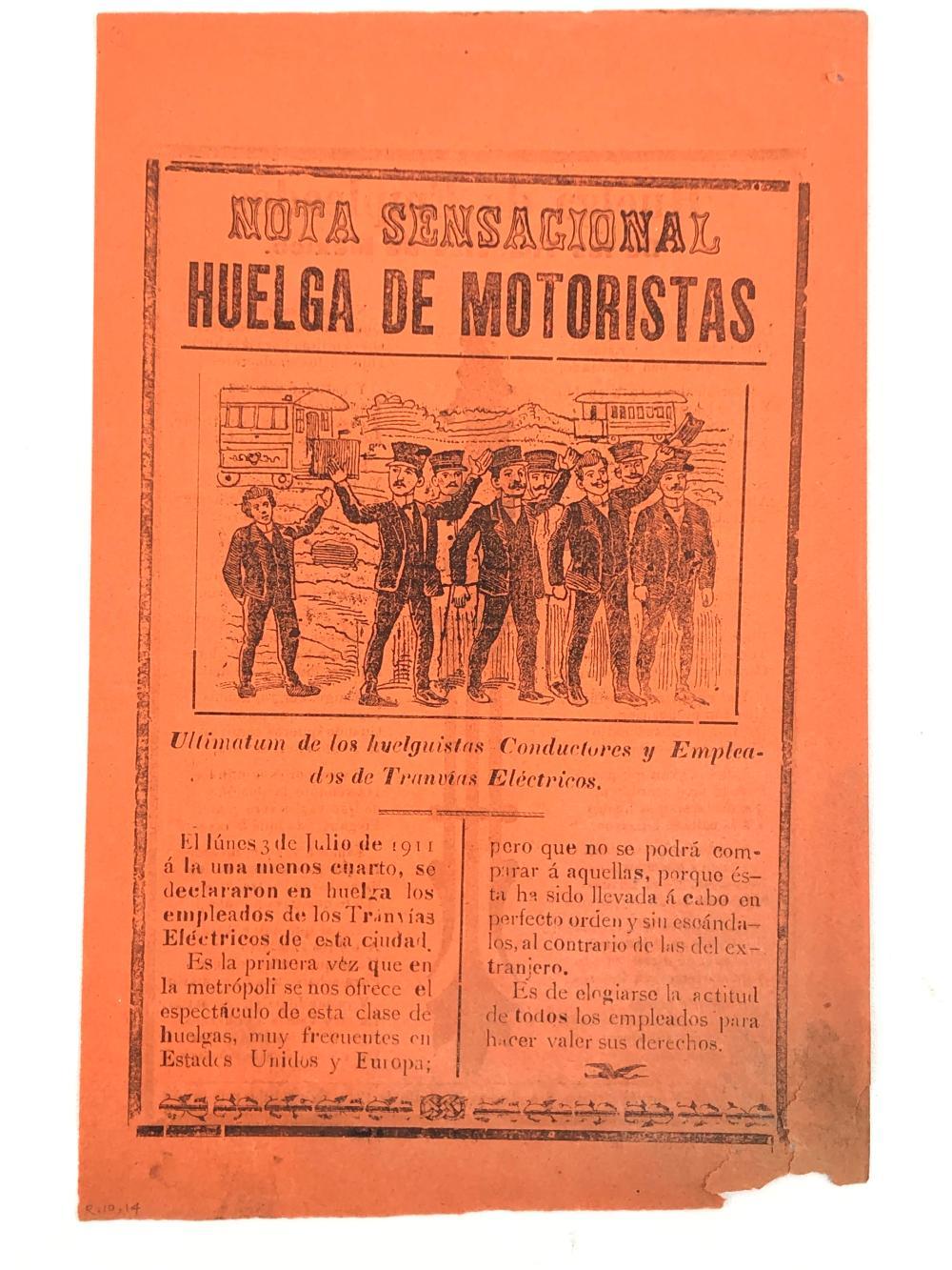 """JOSE GUADALUPE POSADA """"HUELGA DE EMPLEADOS DE LOS TRANVIAS DE MEXICO"""" METALCUT ON PINK NEWSPRINT"""