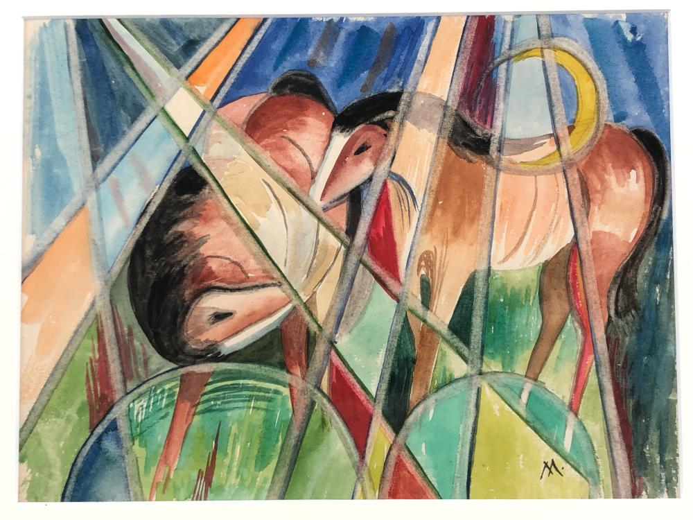 STYLE OF FRANZ MARC TWO HORSES WATERCOLOR & PENCIL ON PAPER