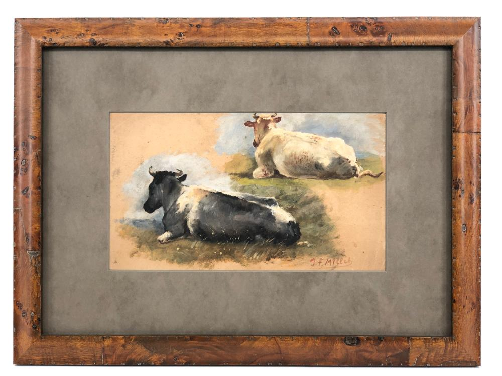 JEAN-FRANCOIS MILLET DOUBLE SIDED PASTORAL STUDY OIL & CHARCOAL ON PAPER