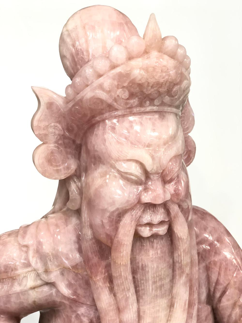 MONUMENTAL QING DYNASTY CHINESE HAND CARVED ROSE QUARTZ DIGNITARY SCULPTURE