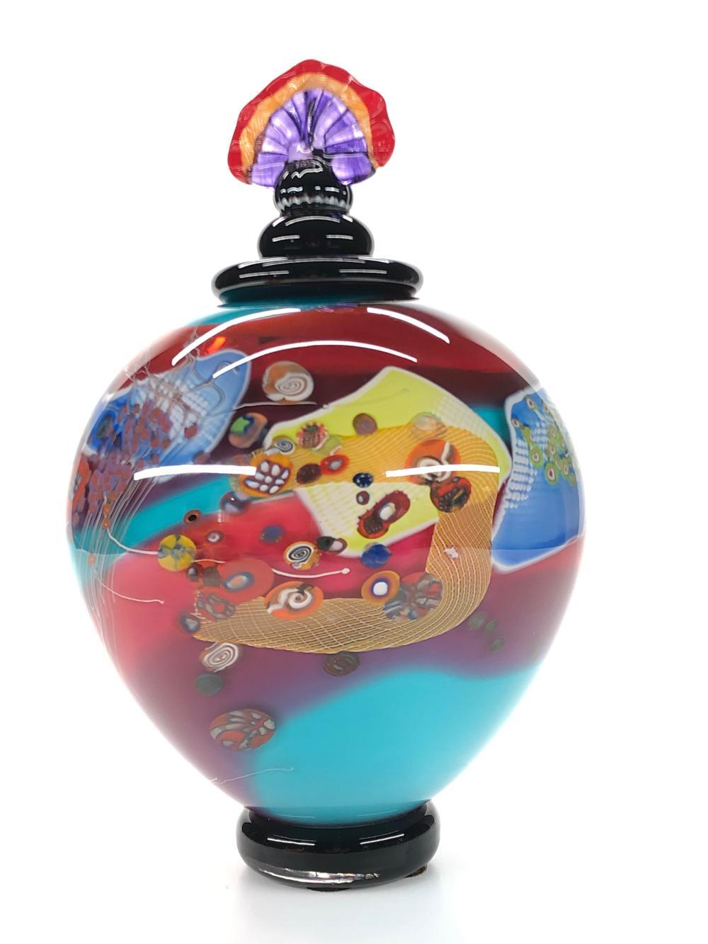 WES HUNTING HAND BLOWN ART GLASS COLORFIELD JAR