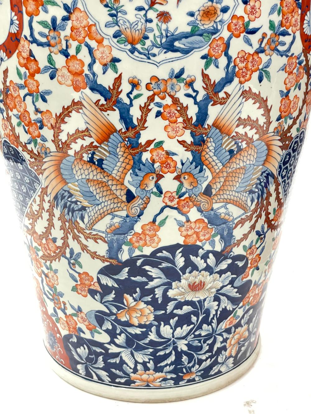 5FT! ANTIQUE PAIR OF MONUMENTAL JAPANESE HAND PAINTED IMARI FLORAL VASES INCLUDES APPRAISAL