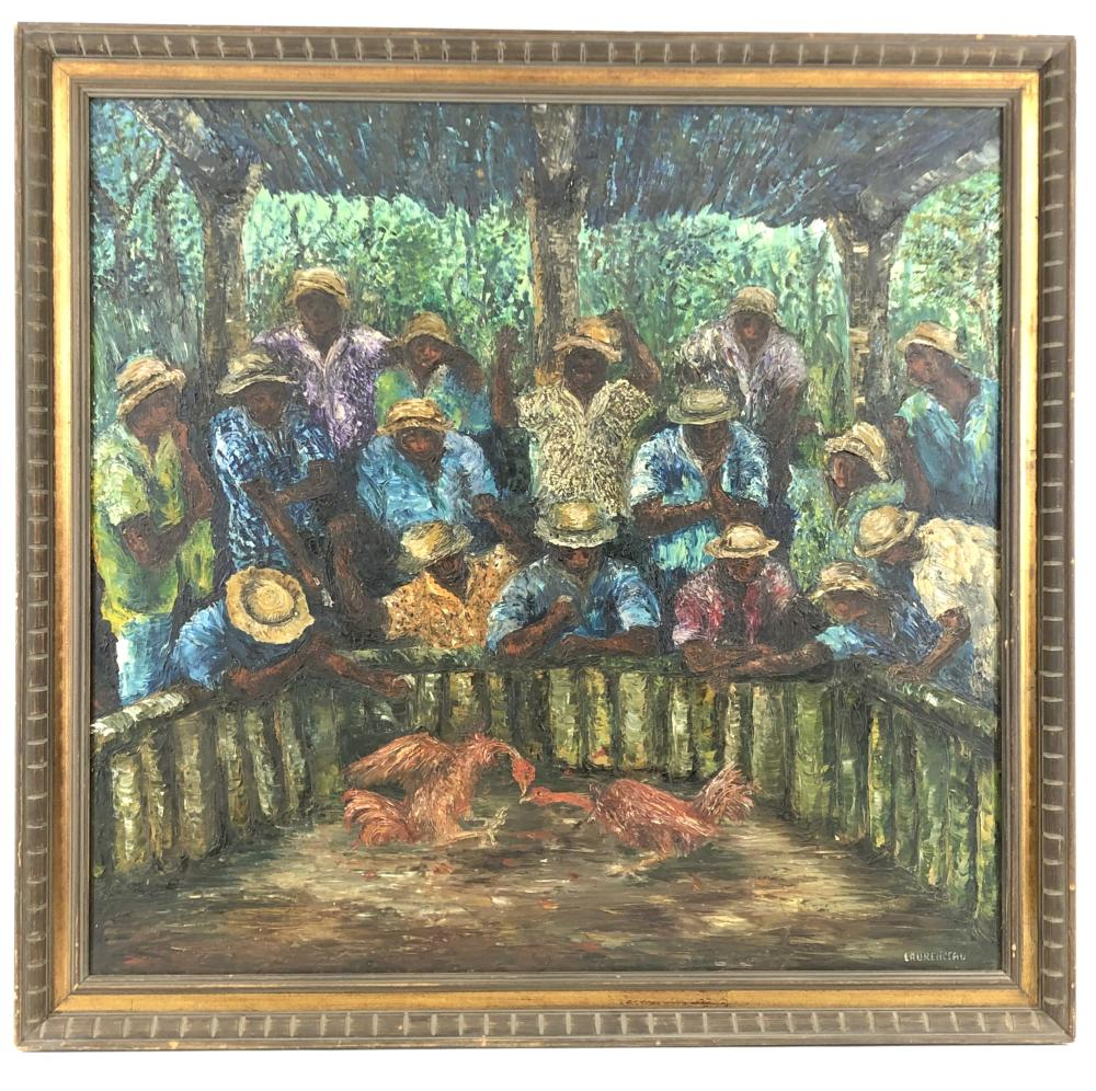 LYONEL LAURENCEAU HAITIAN ROOSTER FIGHTING OIL ON CANVAS
