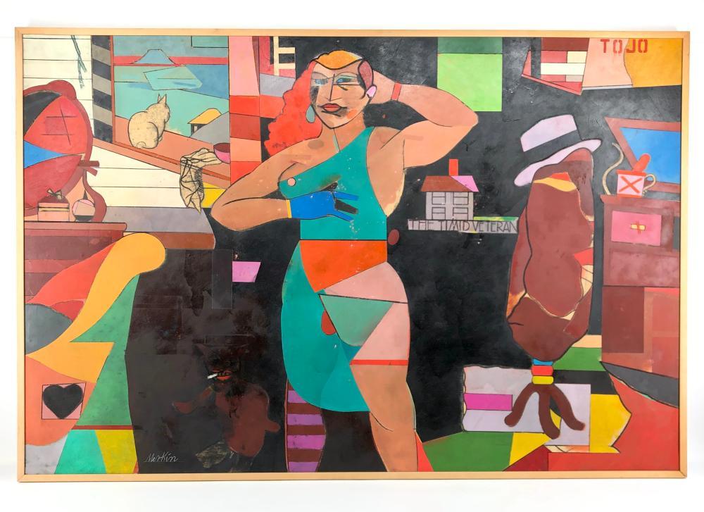 "6FT! RICHARD MERKIN ""BAER VS. CARNERA, 1934"" TEMPERA ON BOARD"