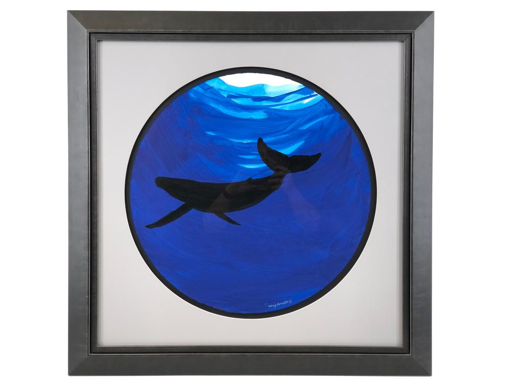 """ROBERT WYLAND """"WHALE"""" WATERCOLOR ON PAPER"""