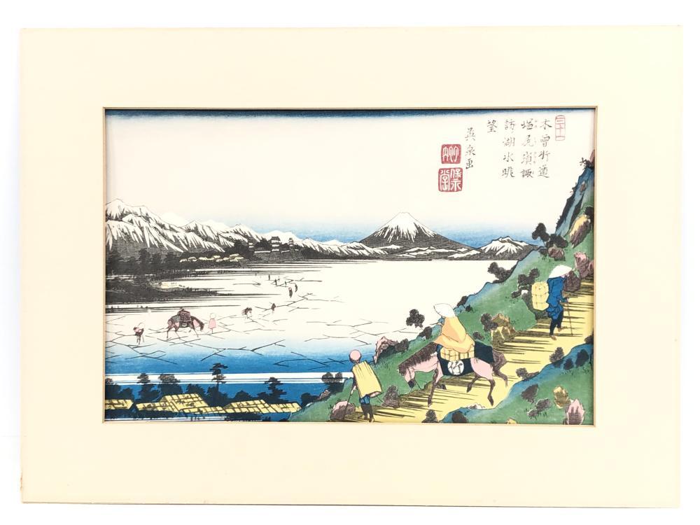 """KEISAI EISEN """"VIEW OF LAKE SUWA FROM SHIOJIRI PASS"""" WOODBLOCK PRINT"""