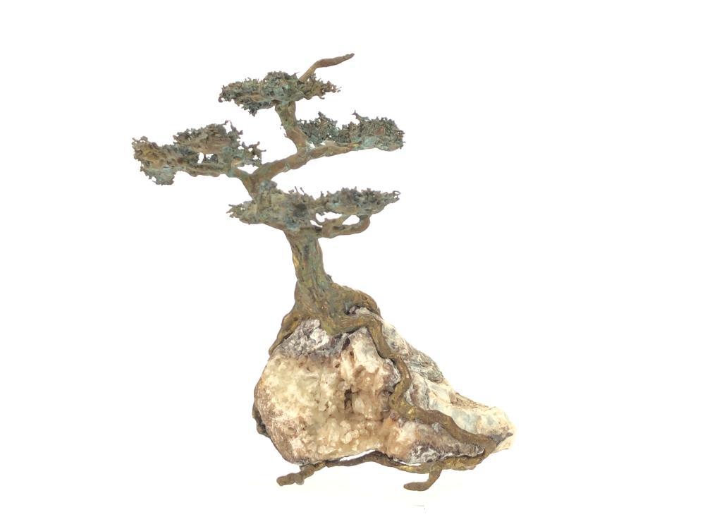 LILA SIGNED BRUTALIST BRASS BONSAI TREE SCULPTURE