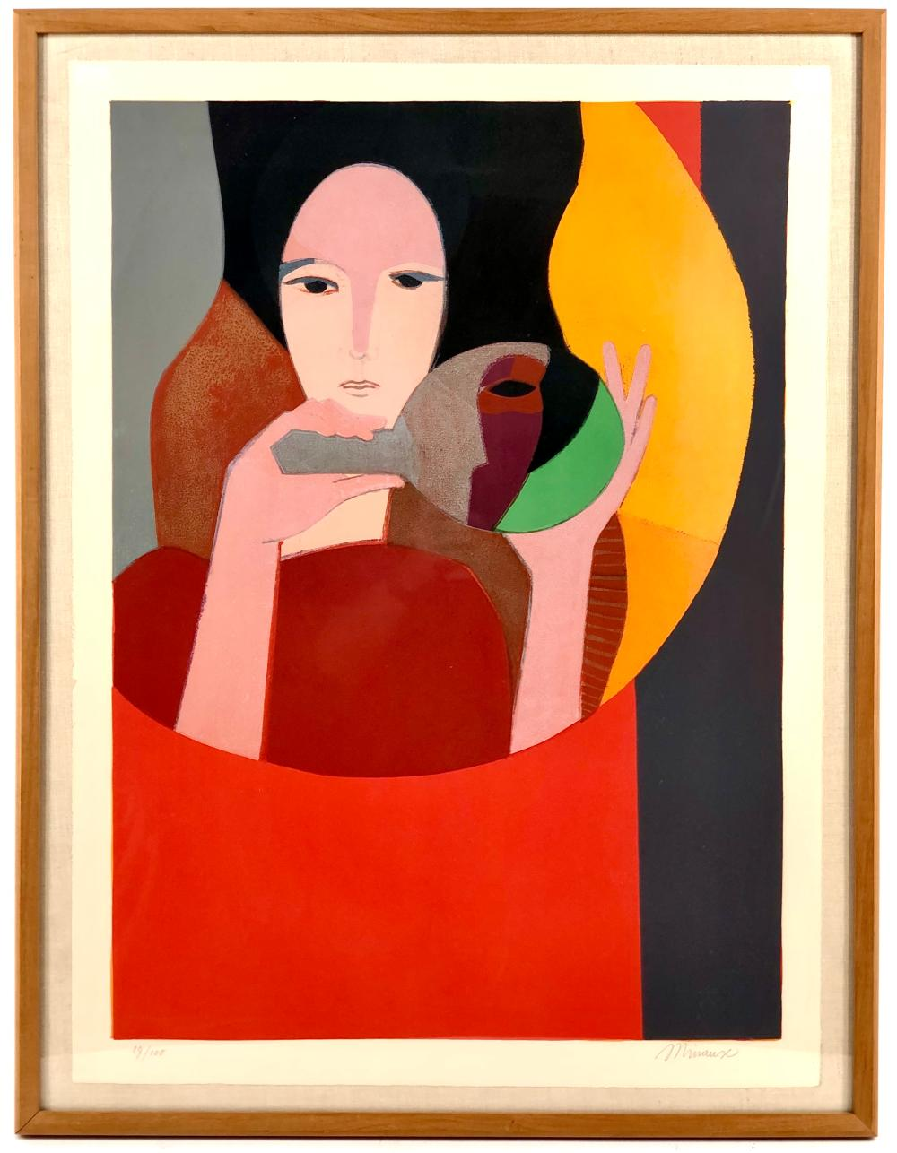 """ANDRE MINAUX """"WOMAN HOLDING A MIRROR"""" LITHOGRAPH"""