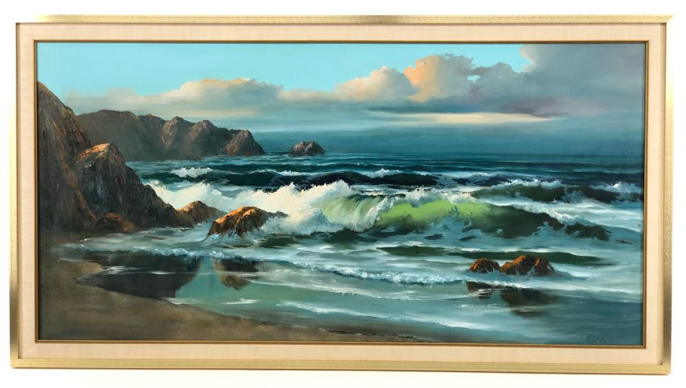CECIL LEE CRASHING WAVES OIL ON CANVAS