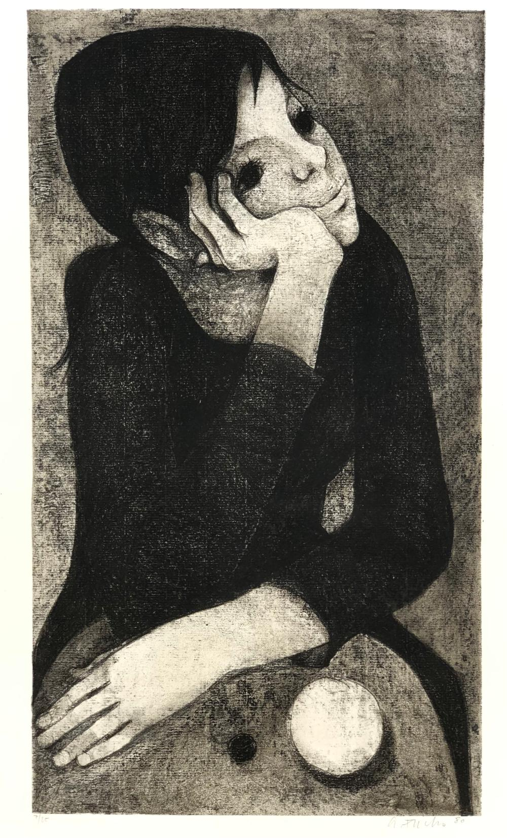 ALFRED FUCHS CHILD WITH BALL LITHOGRAPH