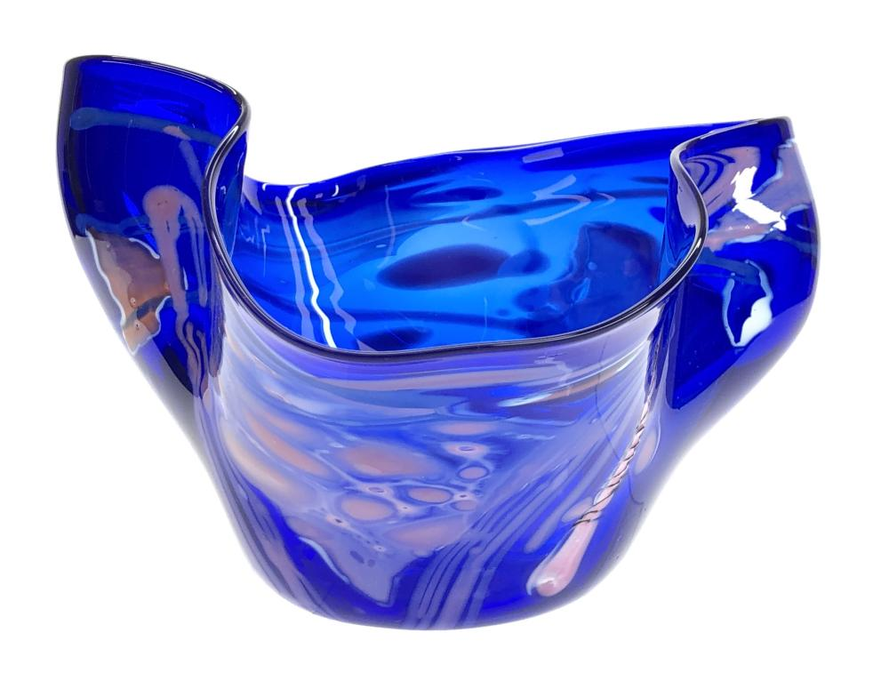 SIGNED ABSTRACT FREEFORM BLUE ART GLASS BOWL