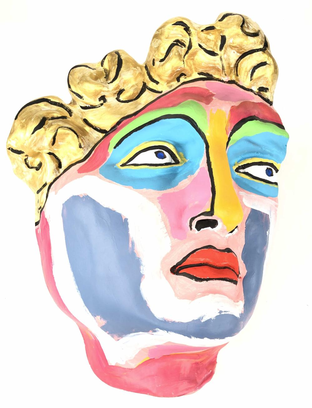 HAND PAINTED FACE OF DAVID PAPER MACHE MASK