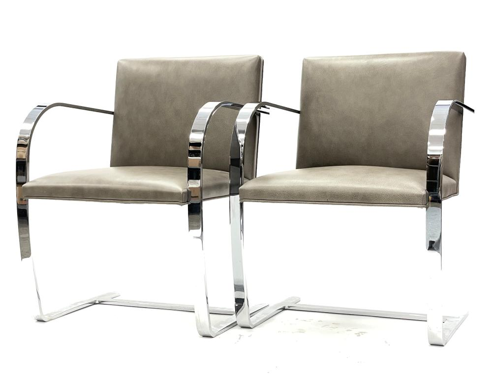PAIR OF KNOLL LUDWIG MIES VAN DER ROHE FLAT BAR BRNO CHAIR W LEATHER