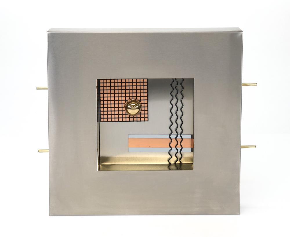 CURTIS JERE CONTEMPORARY MIXED METAL WALL SCULPTURE