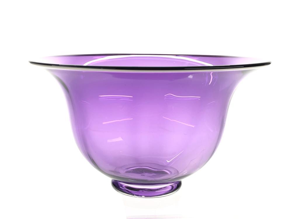 BAYER GLASSWORKS AMETHYST TULIP ART GLASS BOWL
