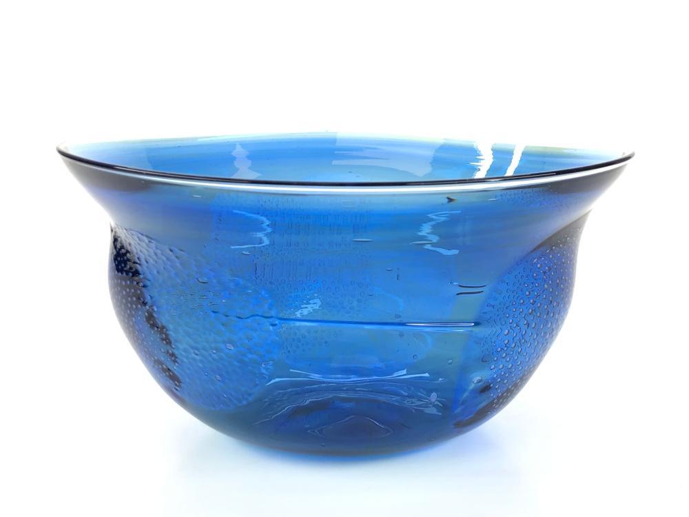 PETER BRAMHALL COBALT BLUE ART GLASS BOWL