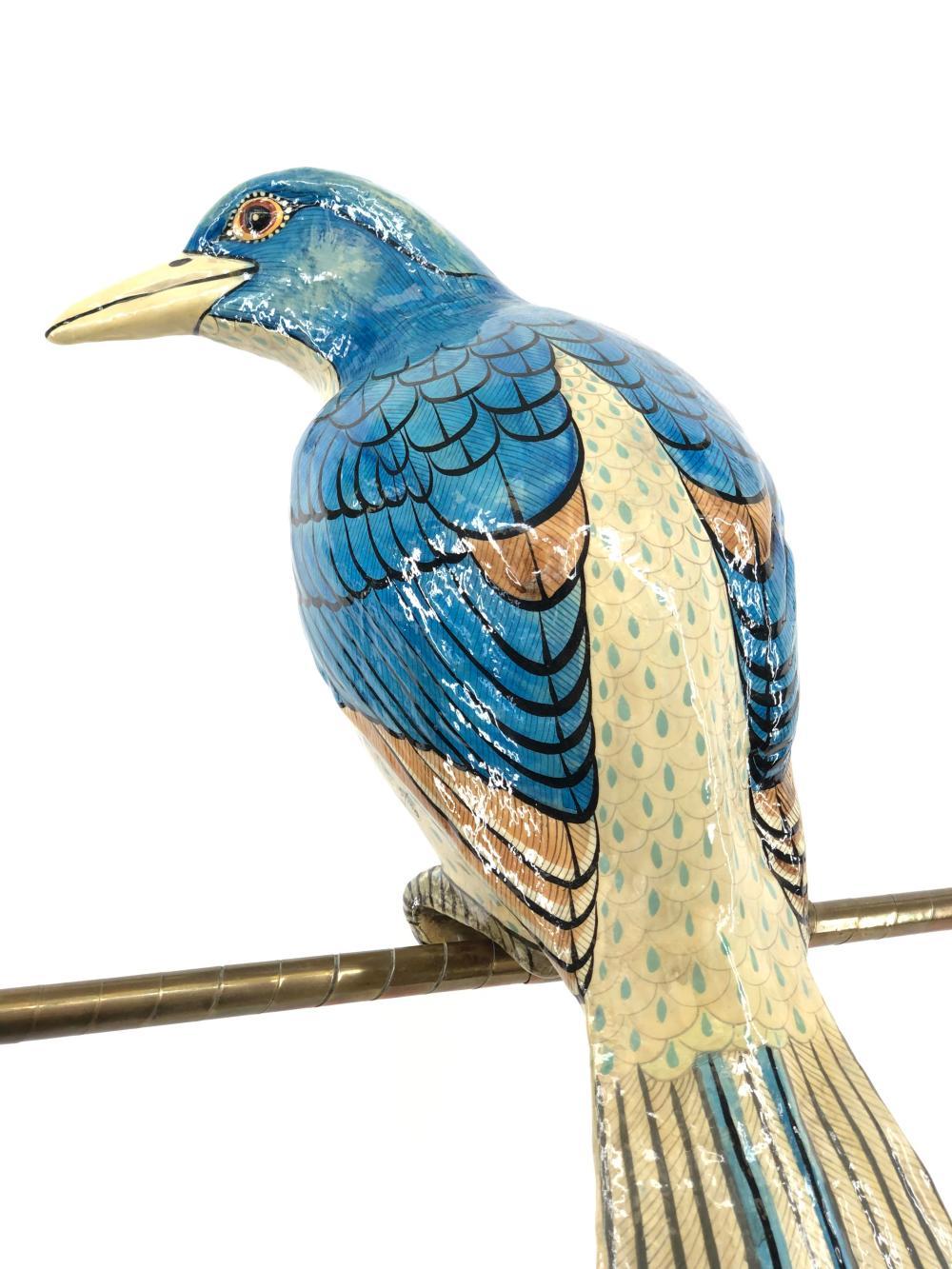 LARGE 3FT SIGNED SERGIO BUSTAMANTE LIMITED EDITION PAPER MACHE MOTMOT BIRD SCULPTURE