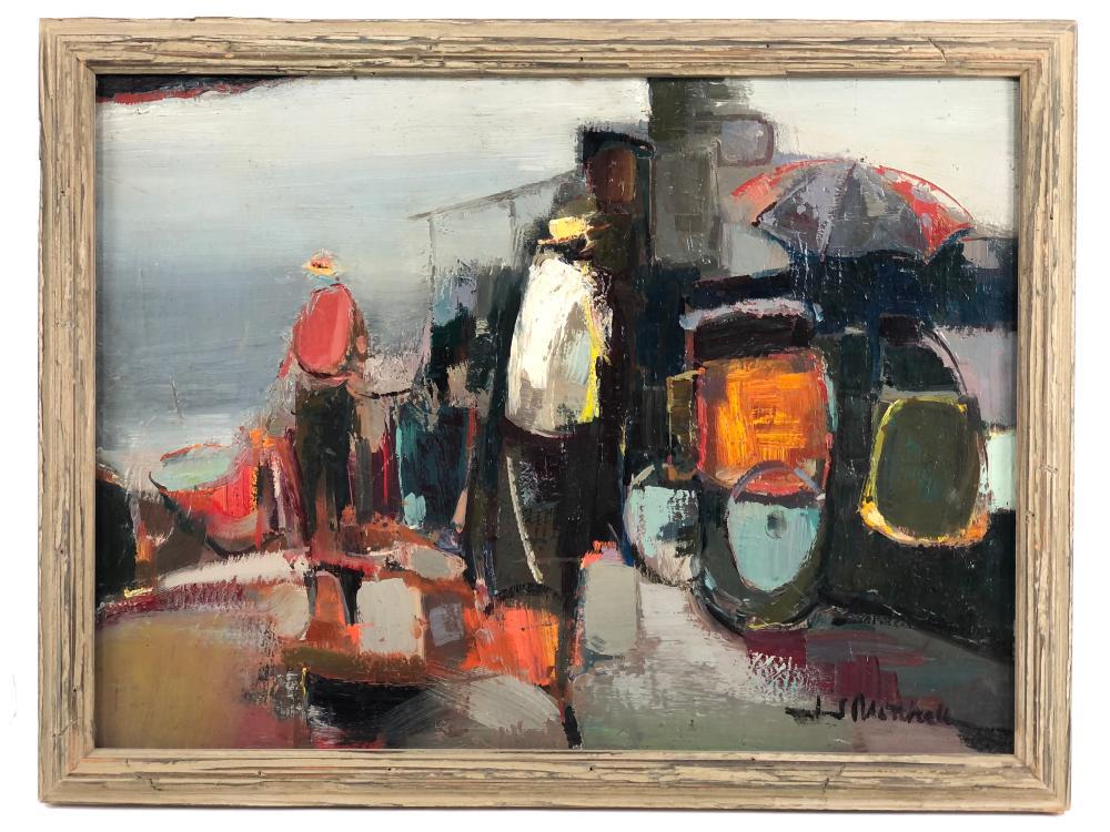 JJ MITCHELL MID CENTURY ABSTRACT OIL ON BOARD