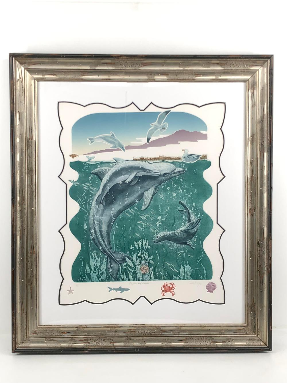 """CHARLES BRAGG """"DOLPHIN & FRIENDS"""" H.C. SIGNED LITHOGRAPH"""