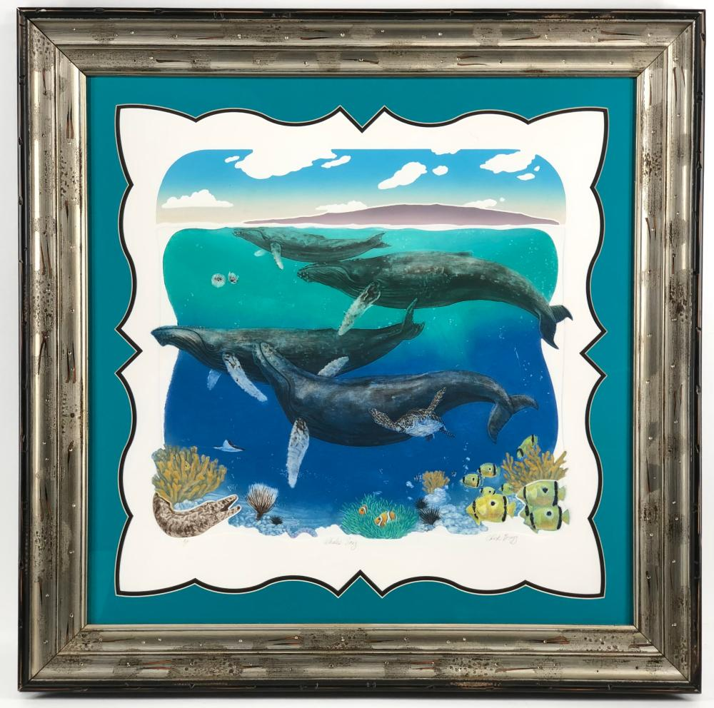 """CHARLES BRAGG """"WHALES SONG"""" A.P. SIGNED LITHOGRAPH"""