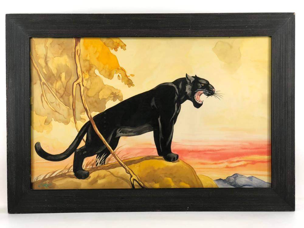 """CARLO OF HOLLYWOOD """"BLACK PANTHER"""" WATERCOLOR ON PAPER"""