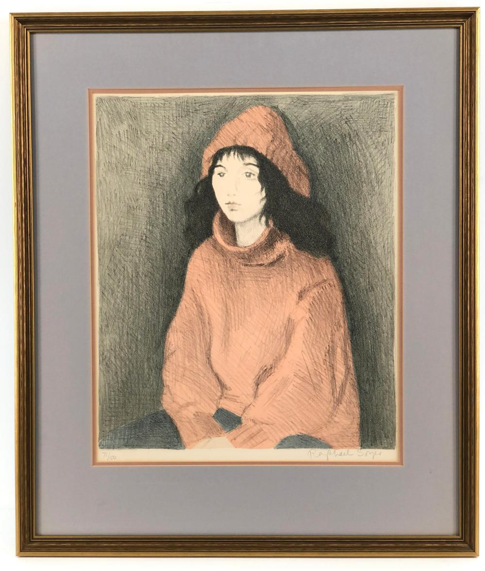 """RAPHAEL SOYER """"GIRL IN RED"""" LIMITED EDITION SIGNED LITHOGRAPH"""