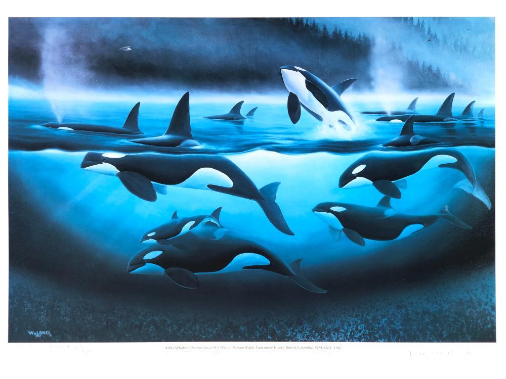 """ROBERT WYLAND """"ORCA A-5 POD"""" A.P. OFFSET LITHOGRAPH"""