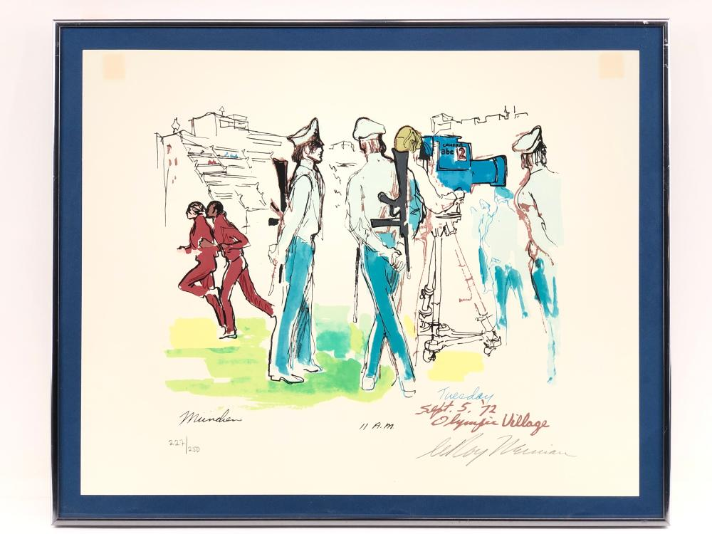 """LEROY NEIMAN """"OLYMPIC VILLAGE, MUNICH, 11 A.M. SEPT. 5TH"""" SIGNED SERIGRAPH"""