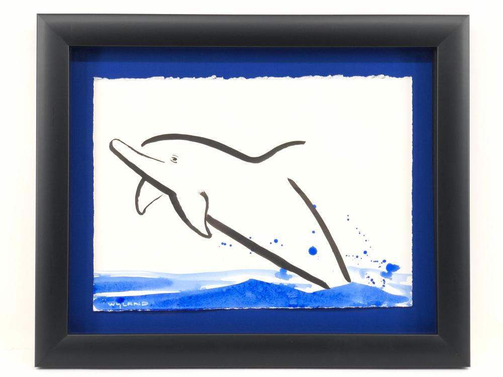 """ROBERT WYLAND """"DOLPHIN"""" INK & WATERCOLOR ON PAPER"""