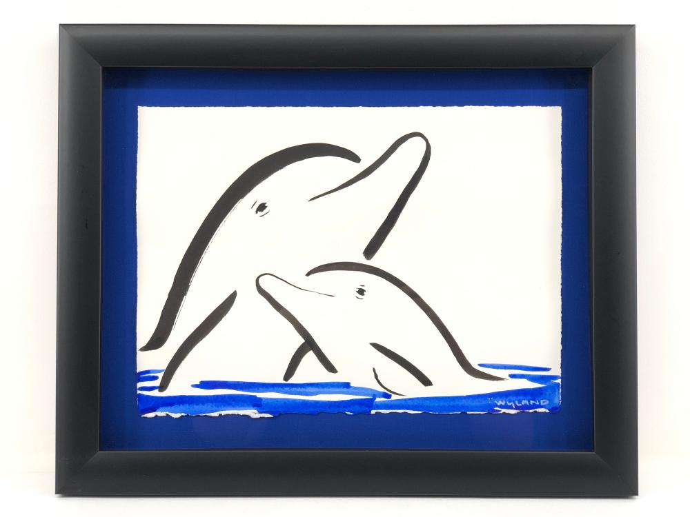 """ROBERT WYLAND """"TWO DOLPHINS"""" INK & WATERCOLOR ON PAPER"""