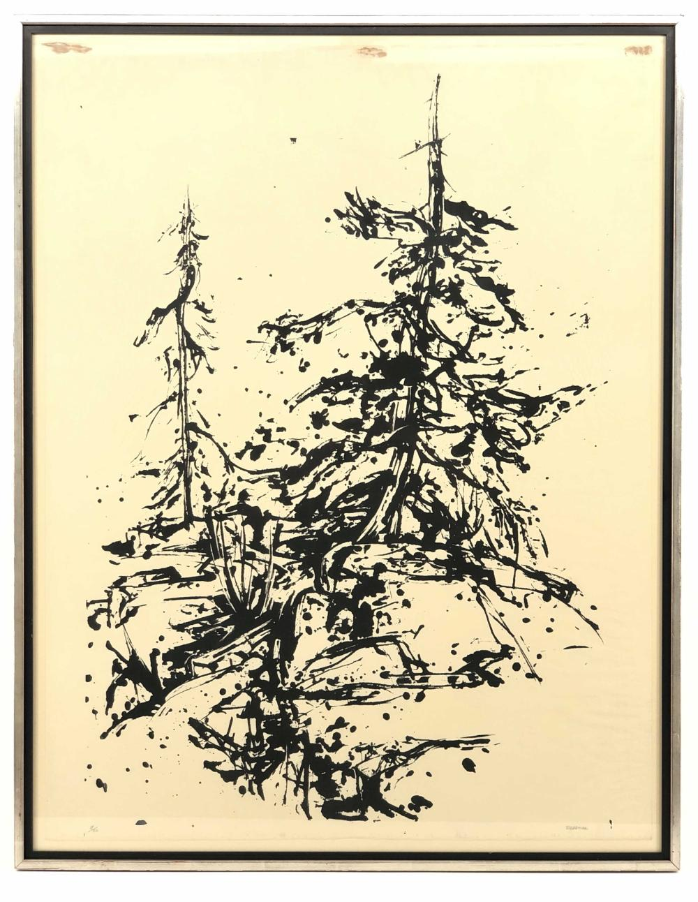 "RICHARD N. SUSSMAN ""TREE DANCING TO THE MORNING SUN"" SILKSCREEN"