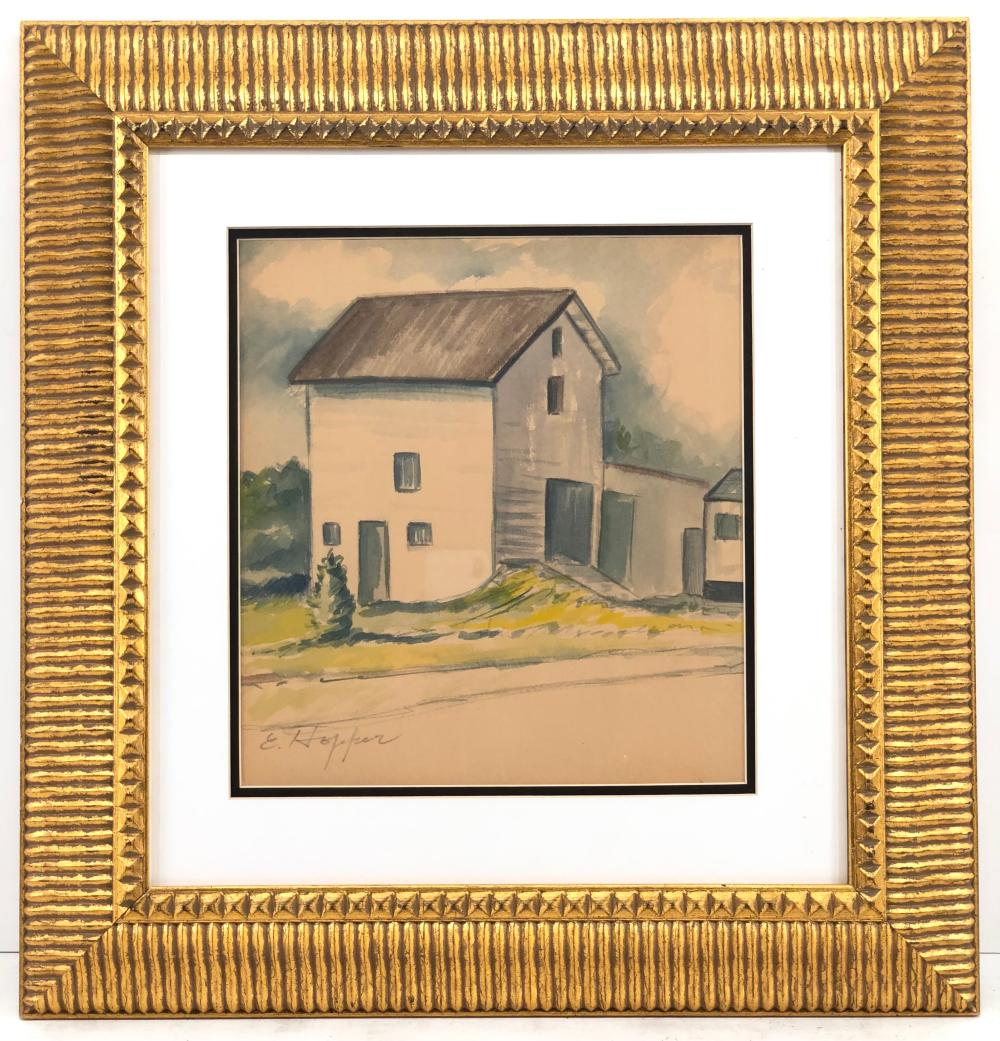 ATTRIBUTED TO EDWARD HOPPER HOUSE IN LANDSCAPE WATERCOLOR & PENCIL ON PAPER