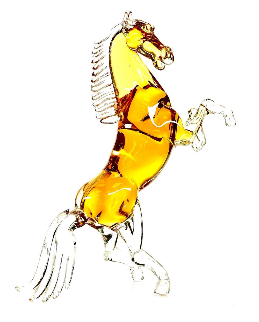 SILVANO SIGNORETTO MURANO AMBER GLASS HORSE