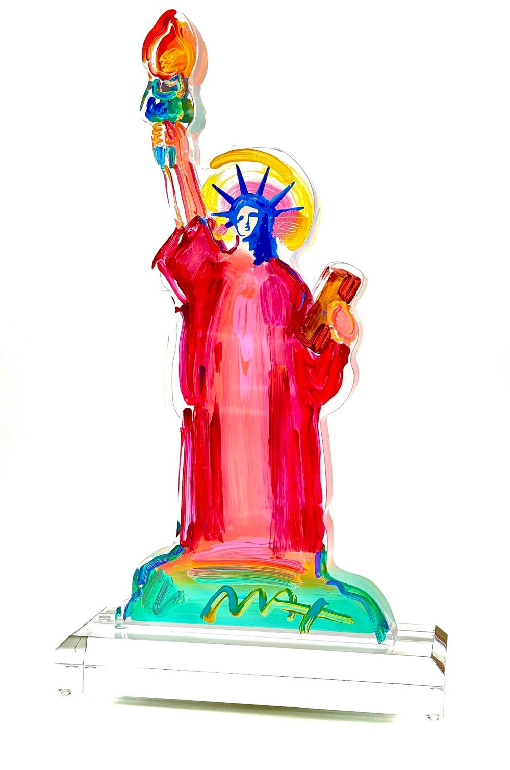 """PETER MAX """"STATUE OF LIBERTY"""" ACRYLIC & PAINT SCULPTURE SIGNED"""