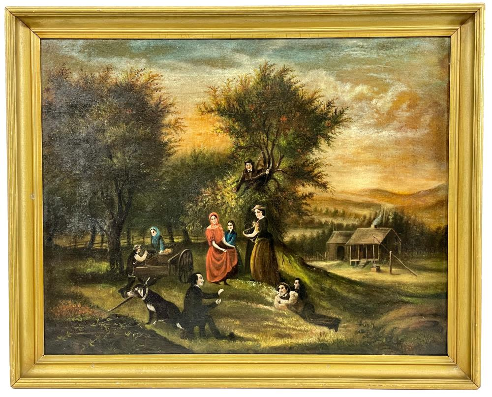 """ANTIQUE MANNER OF JEROME THOMPSON """"APPLE GATHERING"""" OIL ON CANVAS"""