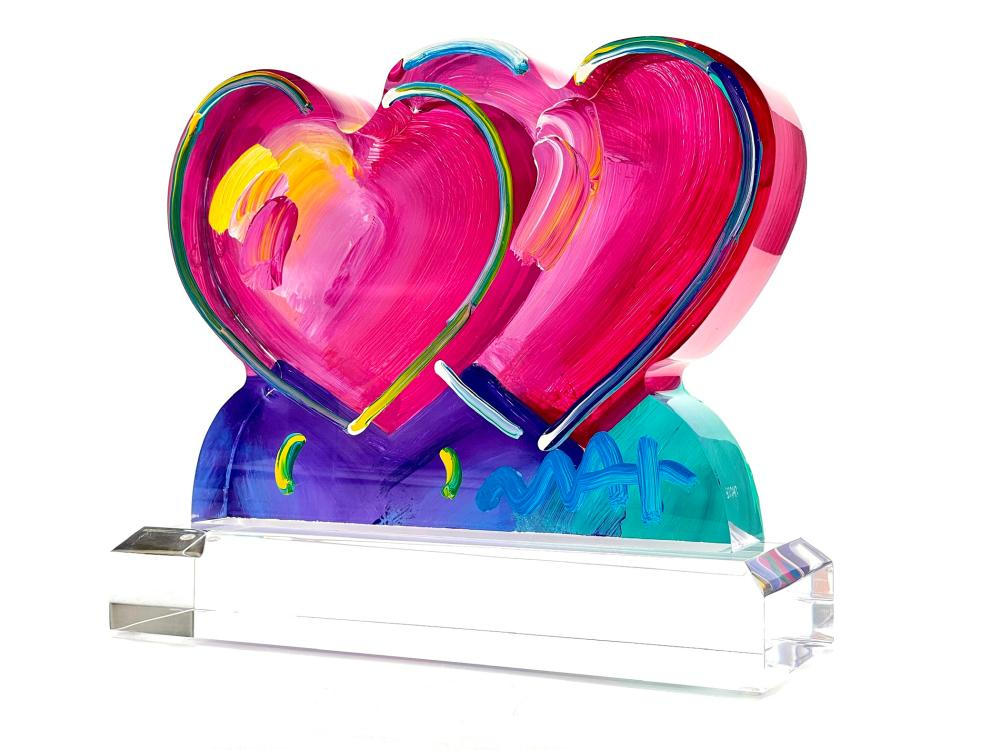 """PETER MAX """"TWO HEARTS"""" ORIGINAL ACRYLIC & PAINT SCULPTURE SIGNED"""