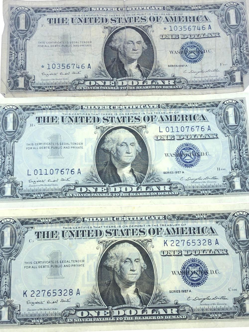 silver certificate bills 1957 series lot