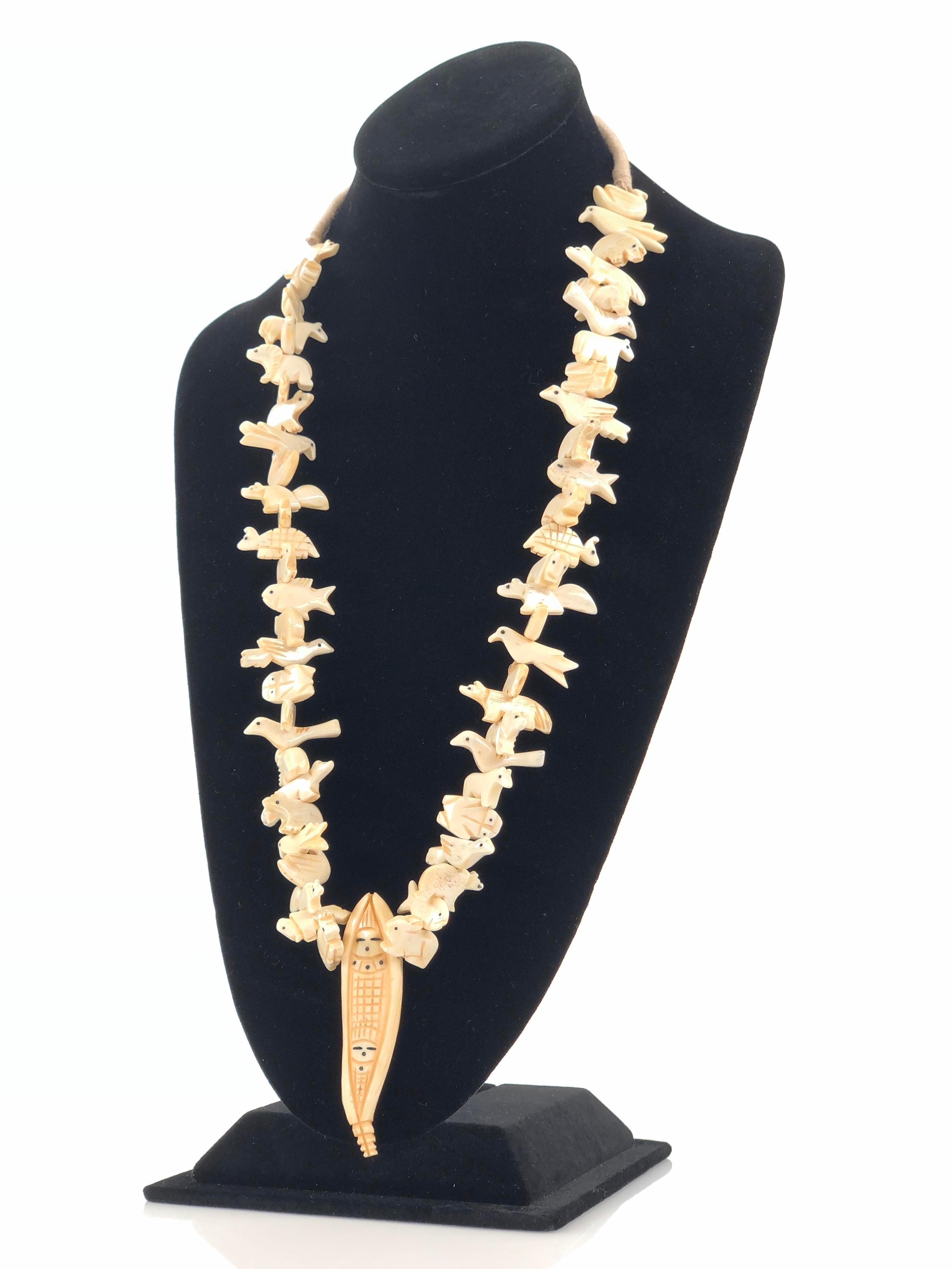 Lot Vintage Hand Carved Bone Corn Maiden Fetish Necklace