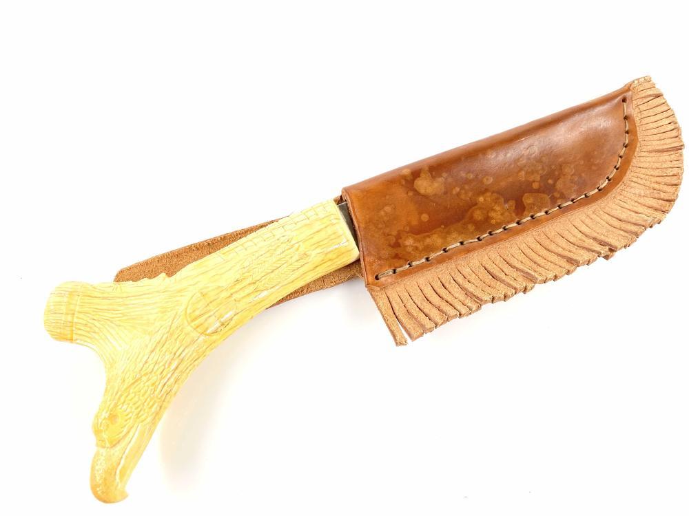 Lot Vintage Native American Bone Carved Handle Knife