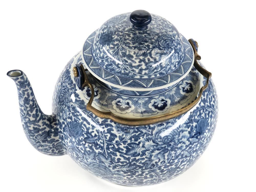 Asian blue floral porcelain teapot