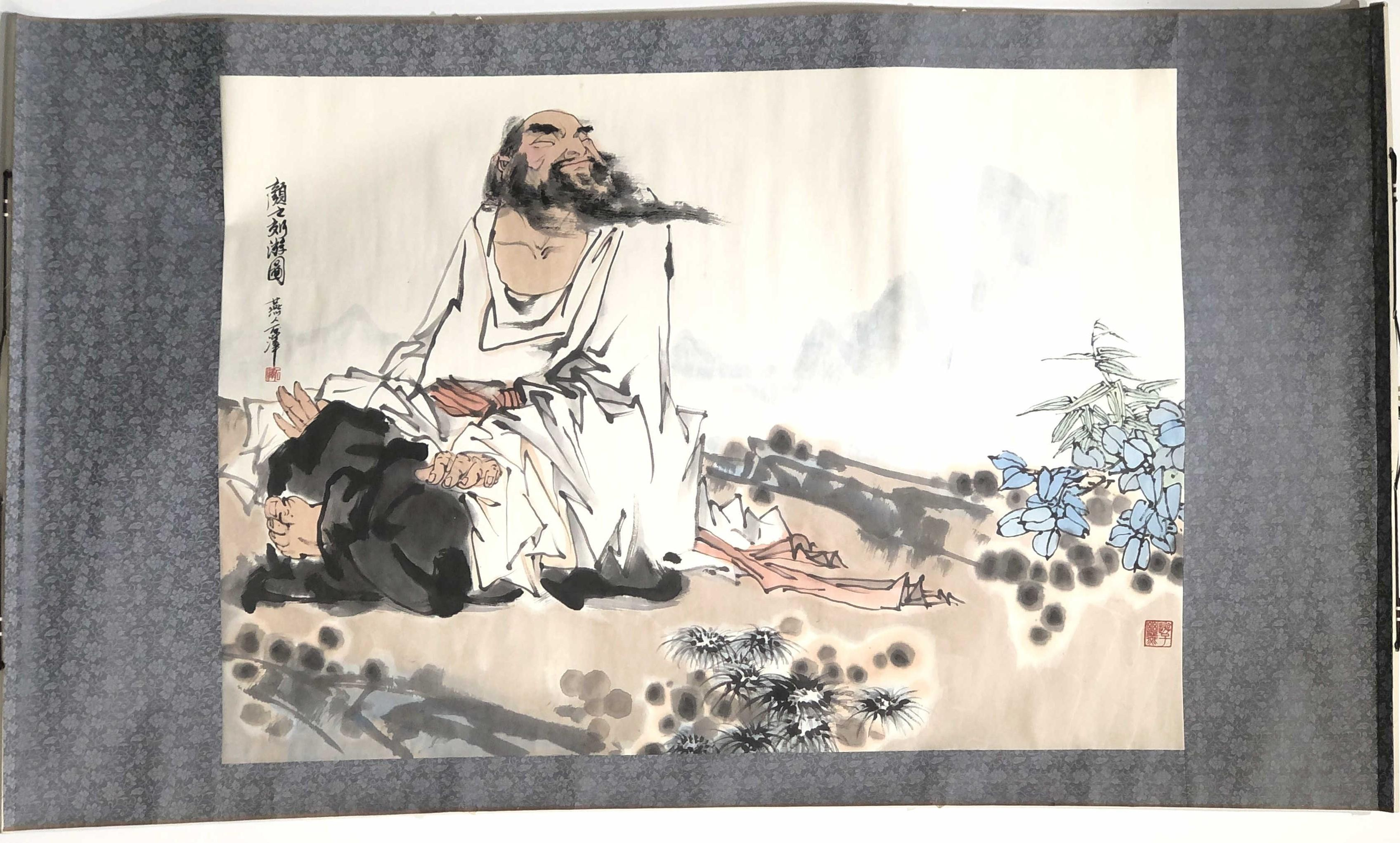 Antique Chinese scroll landscape on paper 20x 68~rolled