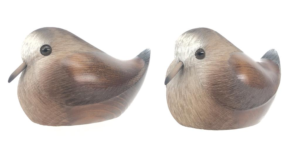 Pair of hand carved wooden birds