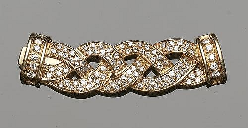 A GOLD AND DIAMOND NECKLACE CONNECTOR