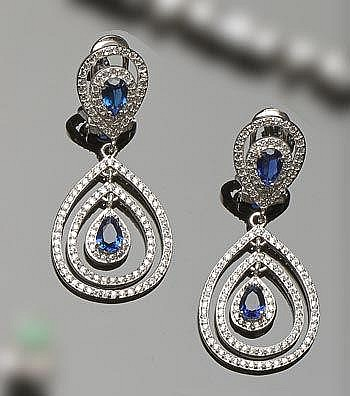 A PAIR OF SILVER, SAPPHIRE AND ZIRCON DROP EARRINGS
