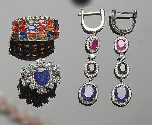 A SET OF STERLING SILVER, SAPPHIRE, RUBY, MULTI-COLORED GEMSTONE AND ZIRCON JEWELRY