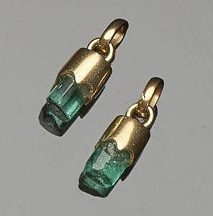 A PAIR OF GOLD AND EMERALD PENDANTS